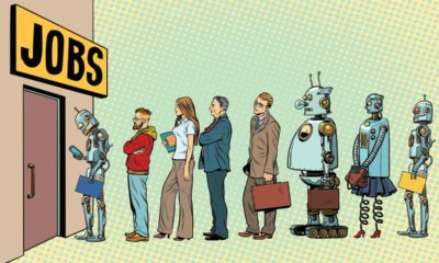 Photo of people and robots waiting in line for jobs