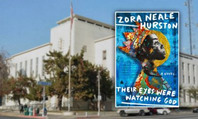 """Photo of FUSD and the cover of the novel """"Their Eyes Were Watching God"""""""