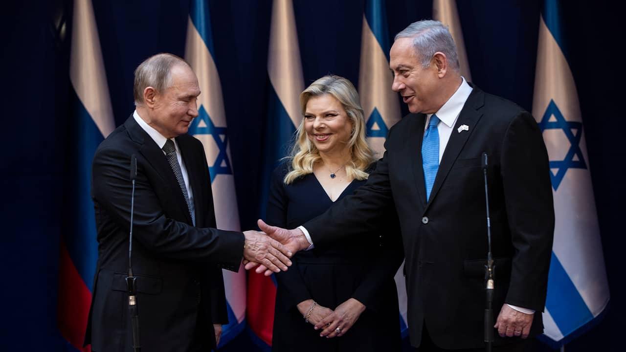 Photo of Israeli Prime Minister Benjamin Netanyahu and Russian President Vladimir Putin