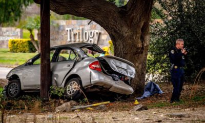 Photo of the scene of a deadly crash in the Temescal Valley, south of Corona, Calif.