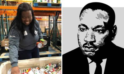 Montage of a photo of a volunteer sorting cans of food a homeless shelter and a line drawing of Martin Luther King Jr.