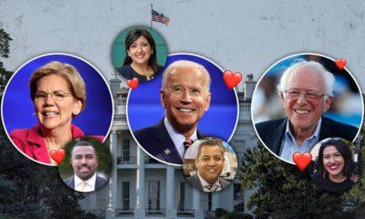 Photo combination of Elizabeth Warren, Joe Biden, Bernie Sanders, Councilman Nelson Esparza, Senator Melissa Hurtado, Councilman Miguel Arias, and Councilwoman Jewel Hurtado