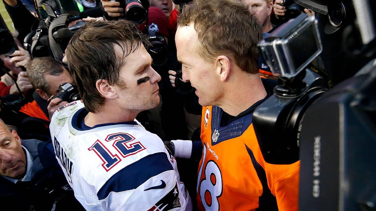 Photo of New England Patriots quarterback Tom Brady (12) and Denver Broncos quarterback Peyton Manning