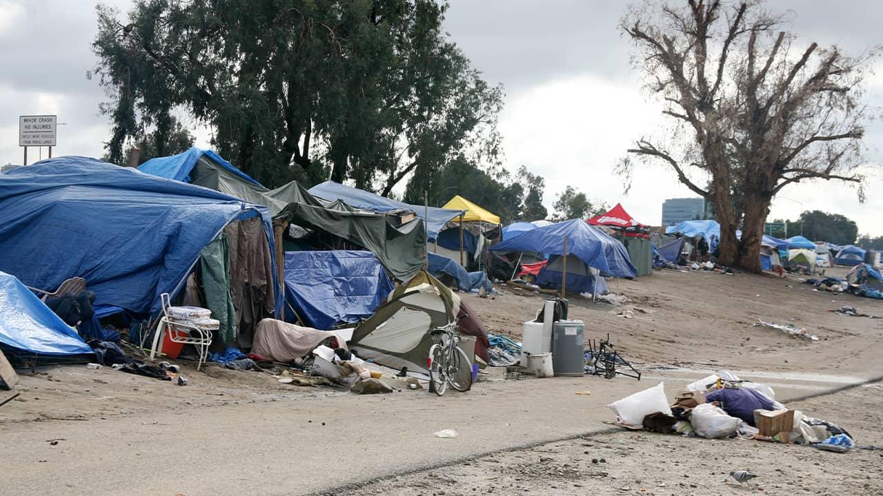 Photo of a homeless camp along the LA River