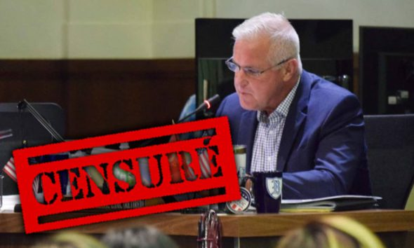 """Photo of FUSD Trustee Terry Slatic with a """"Censure"""" stamp"""