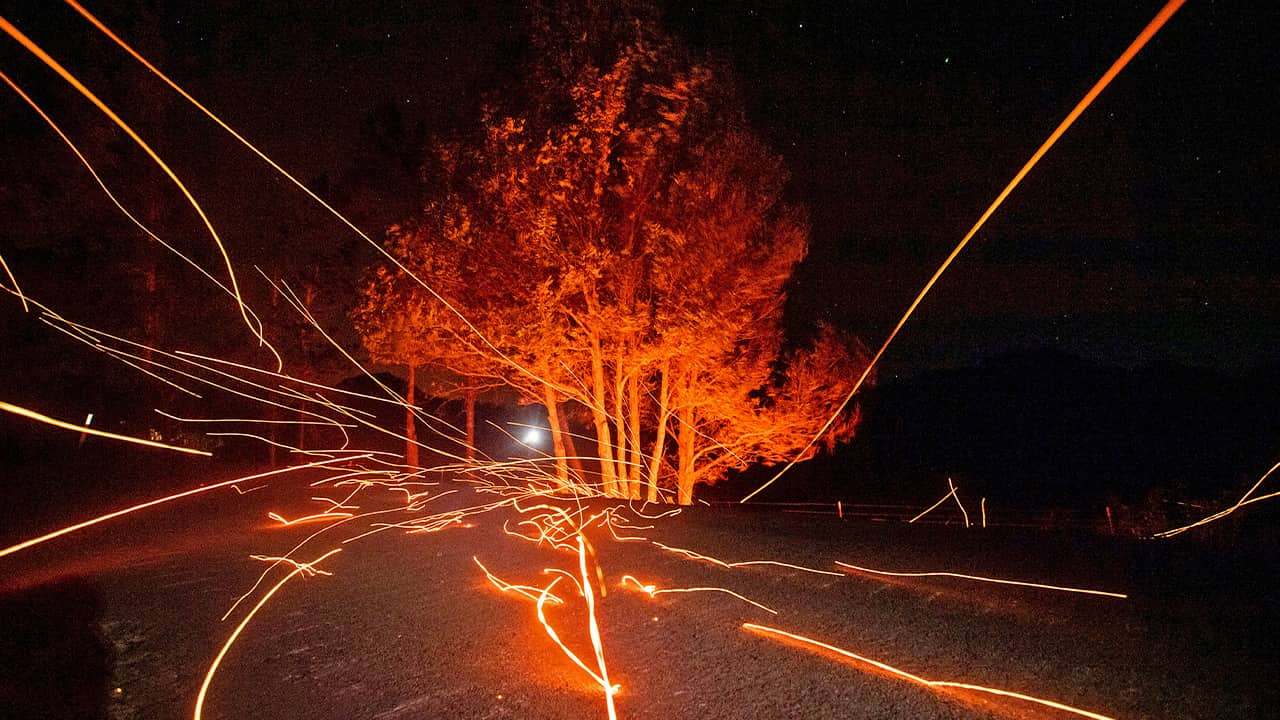 Photo of embers flying during the Kincade Fire in Calistoga, Ca.