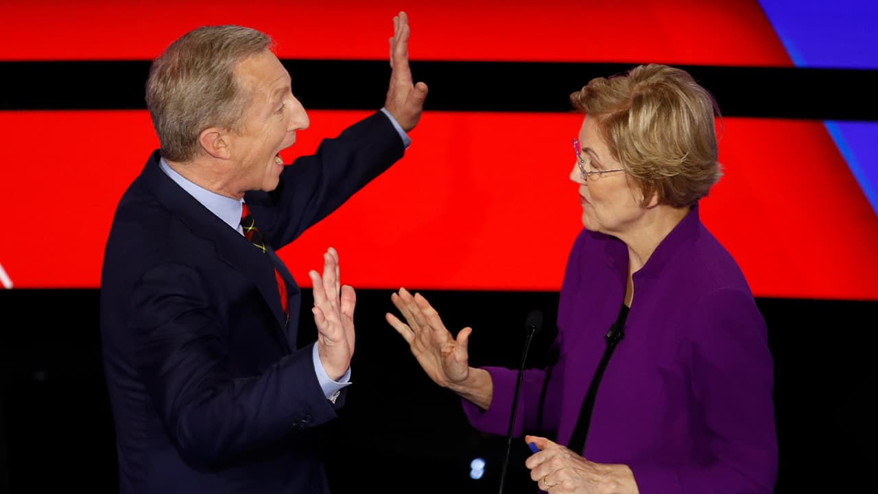 Photo of Tom Steyer and Sen. Elizabeth Warren