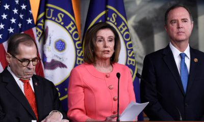Photo of House Speaker Nancy Pelosi of Calif., center, flanked by House Judiciary Committee Chairman Rep. Jerrold Nadler, D-N.Y., left, and House Intelligence Committee Chairman Rep. Adam Schiff