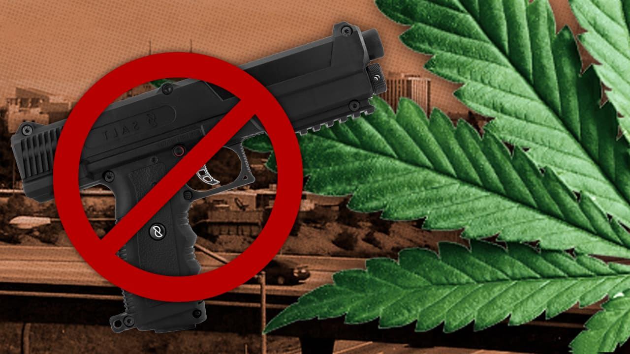 Photo combination of Fresno City Hall, a gun and a marijuana leaf