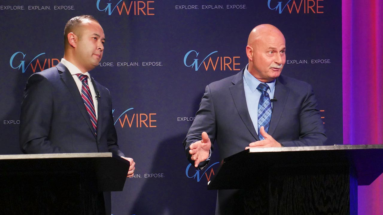 Photo of Fresno mayoral candidates Andrew Janz and Jerry Dyer
