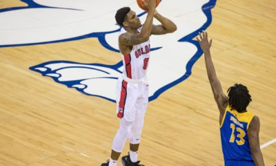 Fresno State's New Williams launches a 3-point shot against San Jose State