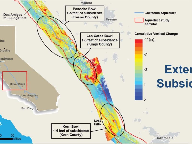 Map showing subsidence in the California Aqueduct