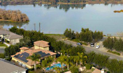 Aerial view of San Joaquin River overlook at Milburn Avenue
