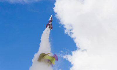 """Photo of Mad"""" Mike Hughes' rocket taking off"""