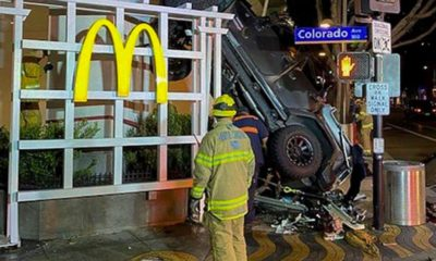 Photo of a vehicle that plunged into the sidewalk in Santa Monica, Calif.