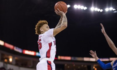 Photo of Fresno State guard Noah Blackwell shooting a jump shot against Air Force's