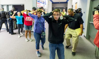 Photo of students taking part in an Active Shooter Response Training exercise at Fountain Middle School in Fountain, Colo.