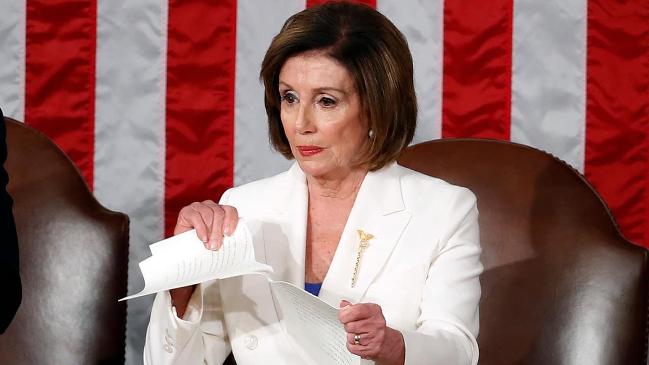 Photo of House Speaker Nancy Pelosi ripping up President Donald Trump's speech