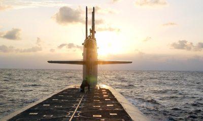 Photo of The Ohio-class ballistic-missile submarine USS Wyoming approaches Naval Submarine Base Kings Bay, Ga.