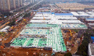 Photo of the Huoshenshan temporary field hospital under construction
