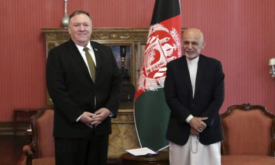 Photo of U.S. Secretary of State Mike Pompeo, left, with Afghan President Ashraf Ghani