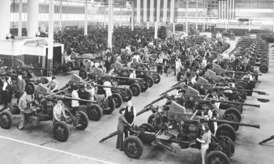 Photo of Bofors guns lined up in 1944
