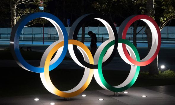 Photo of the Olympic rings in Tokyo