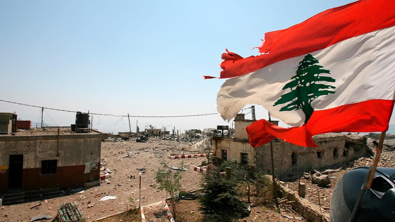 Photo of a Lebanese flag in Khiam, Lebanon