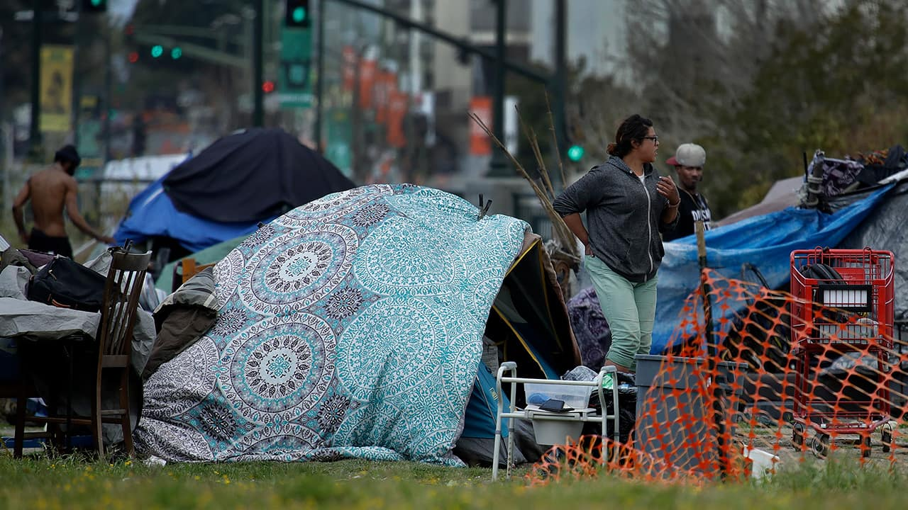 Photo of a homeless camp in Oakland, Calif.
