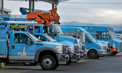 Photo of PG&E trucks
