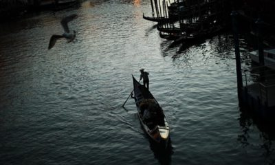 Photo of a gondolier in Venice, Italy