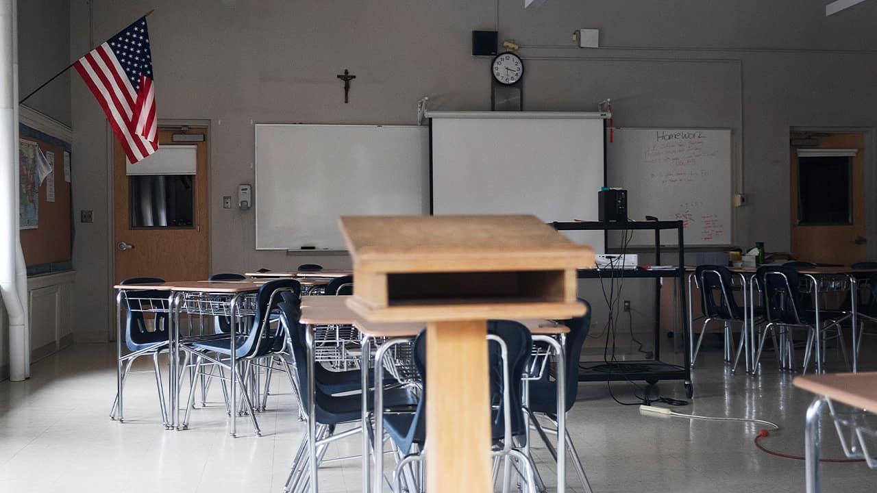 Photo of an empty classroom