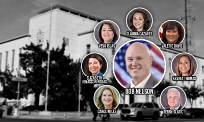 Composite illustration of Fresno Unified Superintendent Bob Nelson and the board of trustees
