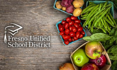 Composite image of Fresno Unified School District logo and assorted fresh fruits and vegetables
