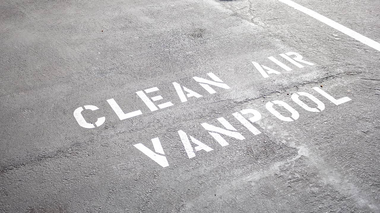 Photo of a clean air vanpool lane on a highway