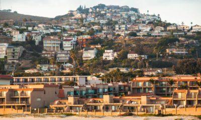 Photo of beach and town of Pismo Beach, California
