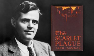 Photo combination of Jack London and his novel, The Scarlet Plague