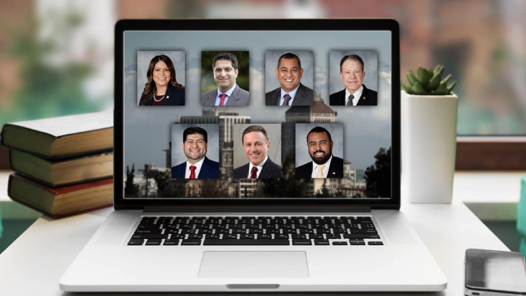 composite of 7 Fresno City Council mug shots on a laptop symbolizing online meetings during COVID-19