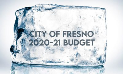 Image of the words City of Fresno 2020-21 Budget embedded in a block of ice