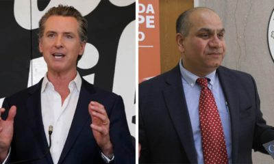 Side by side images of Gov. Gavin Newsom, left, and interim Fresno County Health Officer Dr. Rais Vohra