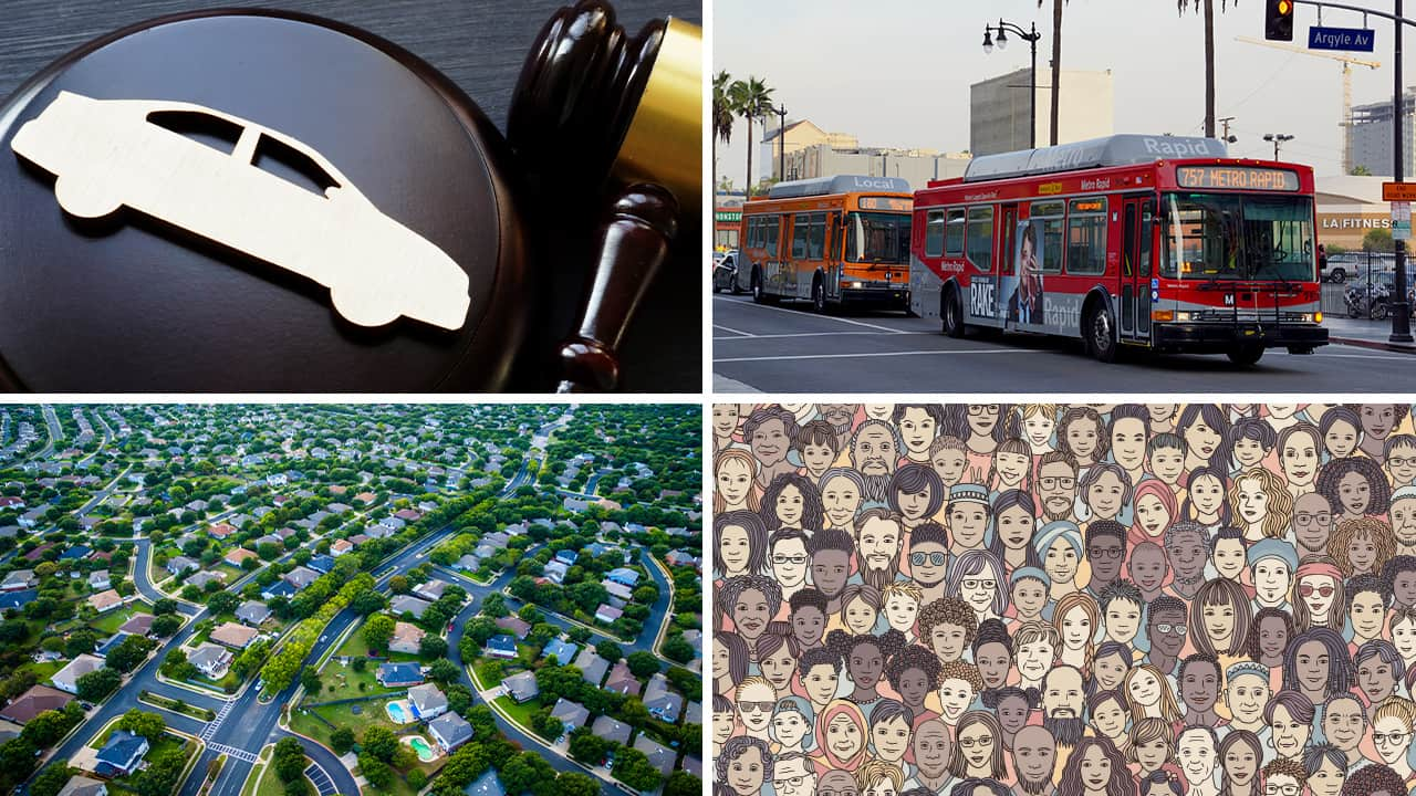 Four pictures depicting the major issues surfacing with implementation of California's SB 743, which promotes bus ridership but will drive up housing costs