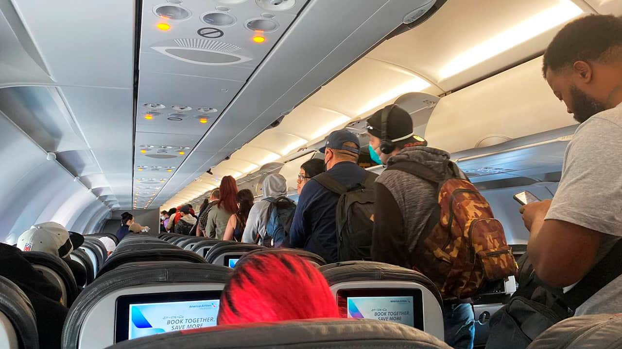 Photo of plane passengers