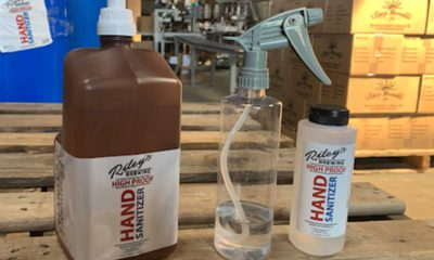Examples of Riley's Brewing hand sanitizer products