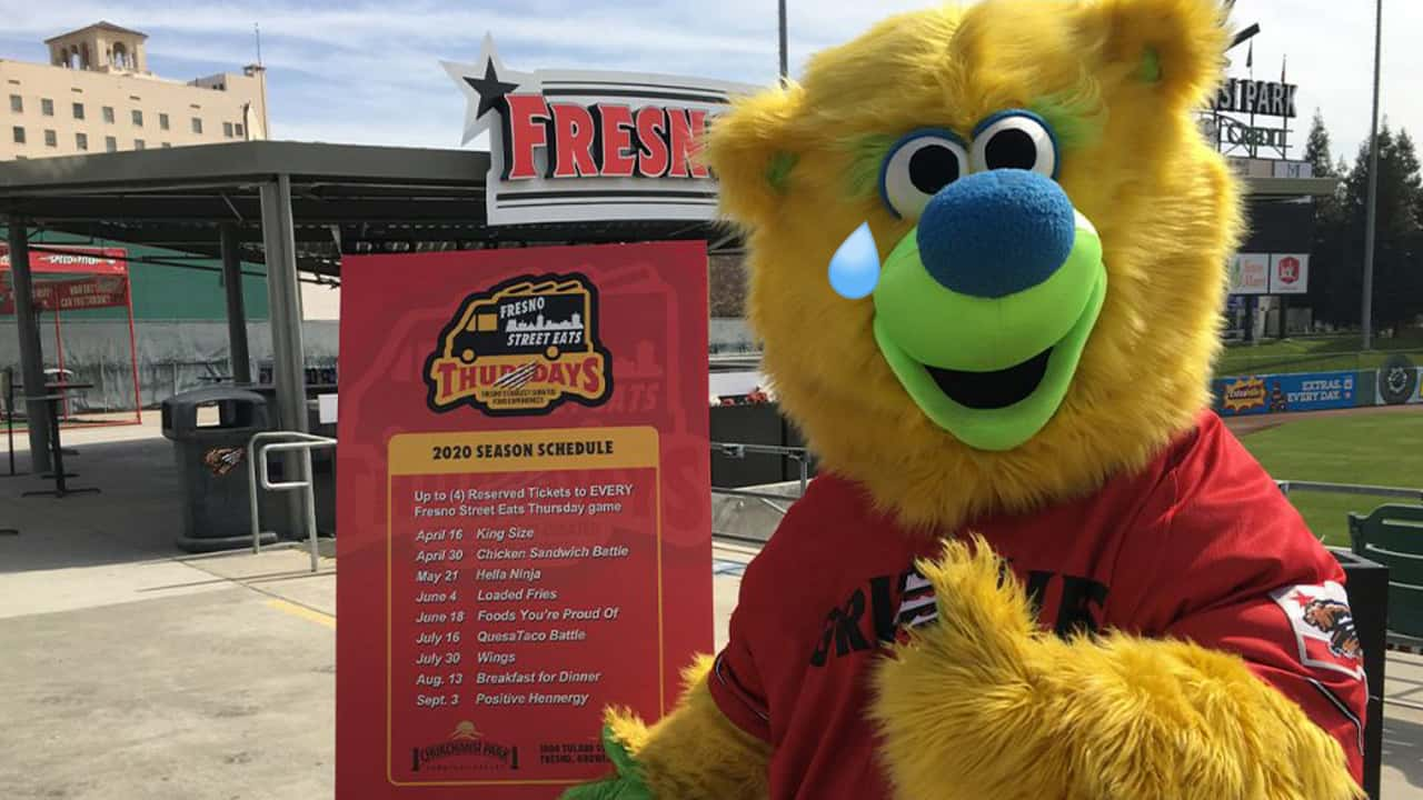 A tear flows from the eye of Parker, the Fresno Grizzlies mascot, over the cancellation of the 2020 minor league baseball season