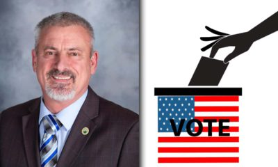 Side by side images of resigned Central Unified trustee Richard Atkins and a 2020 ballot box