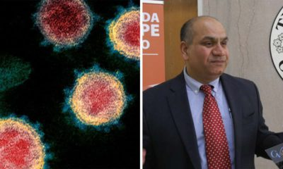Side by side images of COVID 19 and Dr. Rais Vohra, Fresno County's interim health officer