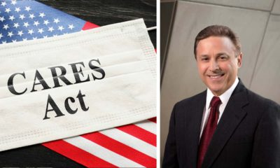 Side by side images of Cares Act headline against an America Flag and Fresno City Councilman Garry Bredefeld
