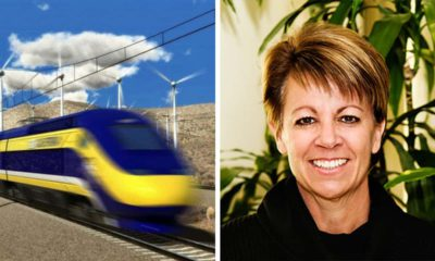 Side by side image of bullet train and California Transportation Commission nominee Lee Ann Eager of Fresno