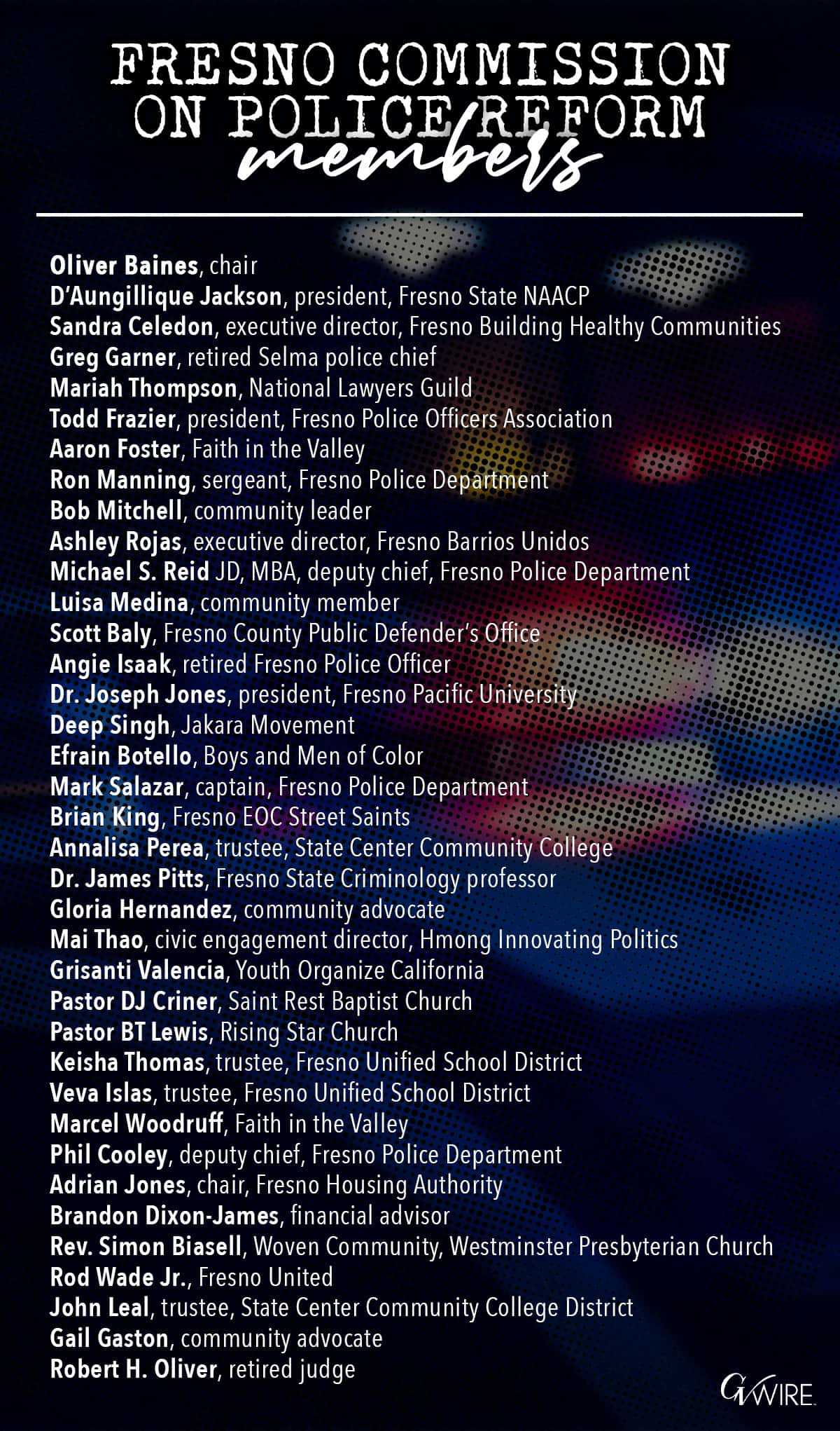 Image of the names of the people serving on the Fresno Commission on Police Reform