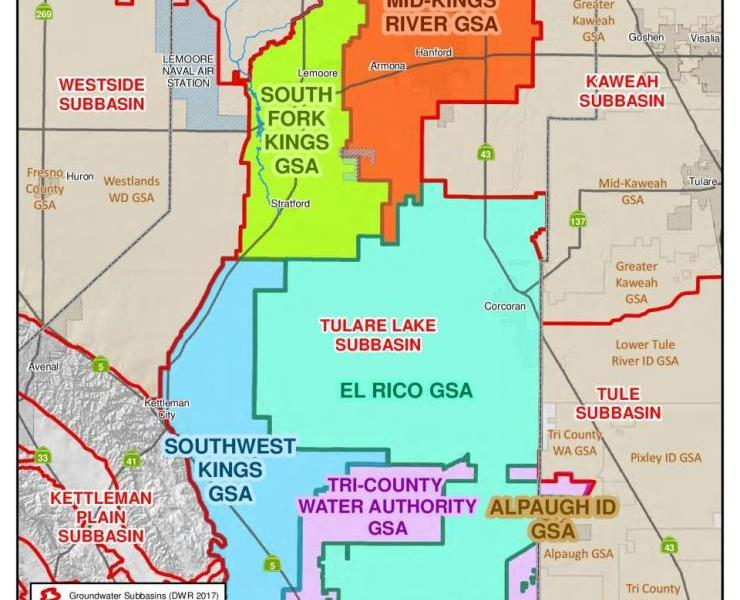 A color map showing the groundwater sustainability agencies in Kings County